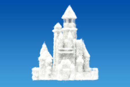 3 D 空で雲から城を表示