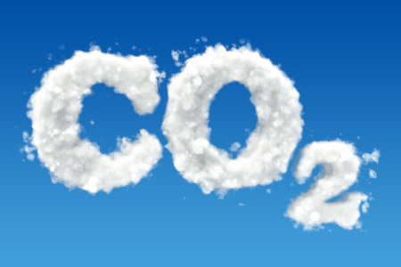 CO2 inscription from clouds in the sky. 3D rendering