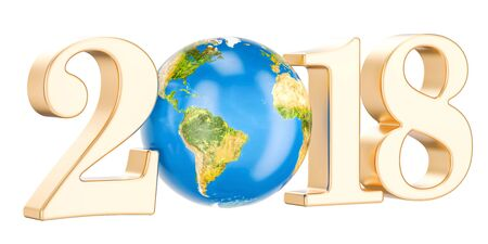 Happy New Year 2018 with earth concept, 3D rendering Stock Photo