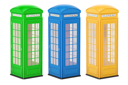 Set of colored telephone boxes, 3D rendering isolated on white background