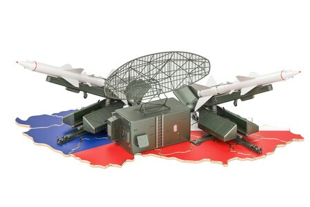 Czech Republic missile defence system concept, 3D rendering Stock Photo