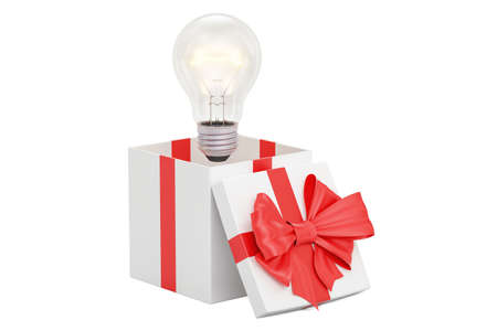 Gift box with lightbulb, idea of gift concept. 3D rendering