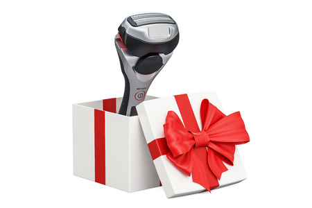 Gift concept, electric shaver inside gift box. 3D rendering isolated on white background Stock Photo