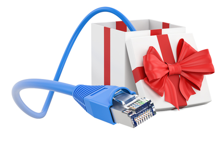 Internet connection in gift concept. 3D rendering isolated on white background