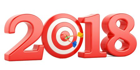 Target and mission of 2018 New Year concept, 3D rendering Stock Photo