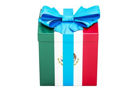 Gift box with flag of Mexico, holiday concept. 3D rendering isolated on white background