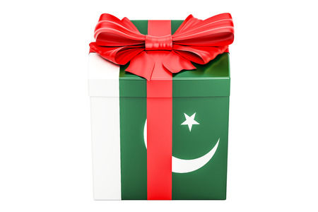 boxing day: Gift box with flag of Pakistan, holiday concept. 3D rendering isolated on white background