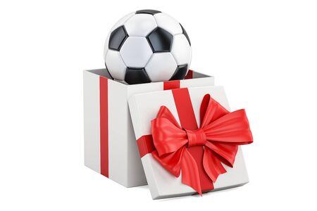 Gift concept, soccer ball inside gift box. 3D rendering Фото со стока