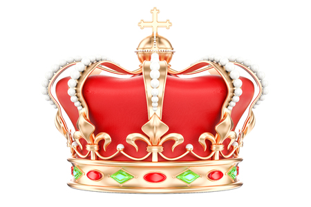 Golden Crown closeup, 3D rendering isolated on white background