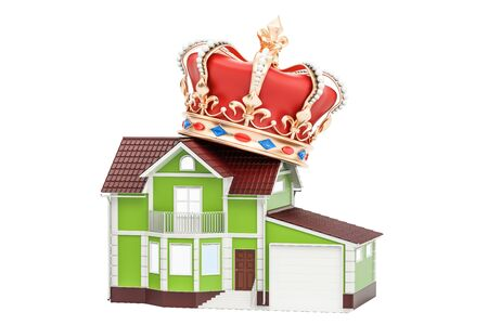 House with golden crown, 3D rendering isolated on white background Stock Photo