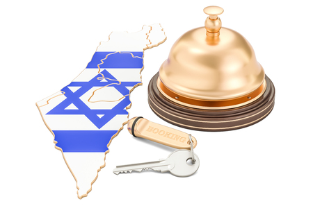 Israel booking concept. Israeli flag with hotel key and reception bell, 3D rendering Stock Photo