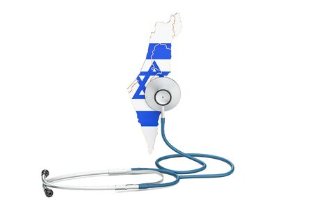 Israel map with stethoscope, national health care concept, 3D rendering