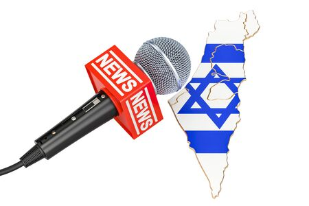 Israeli News concept, microphone news on the map. 3D rendering