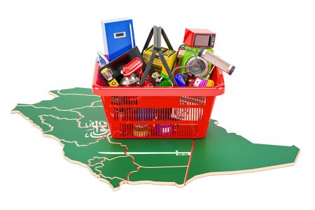 Map of Saudi Arabia with shopping basket full of home and kitchen appliances, 3D rendering Stock Photo