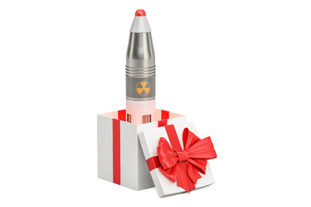 Nuclear air missile inside gift box. 3D rendering isolated on white background Stock Photo