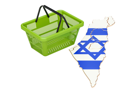 Shopping basket on Israel map, market basket or purchasing power concept. 3D rendering Stock Photo