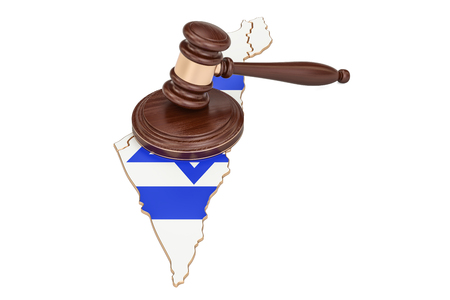 Wooden Gavel on map of Israel, 3D rendering isolated on white background