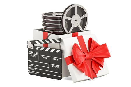 Concetto di regalo di pellicola, rendering 3D isolato su sfondo bianco Archivio Fotografico - 89044947