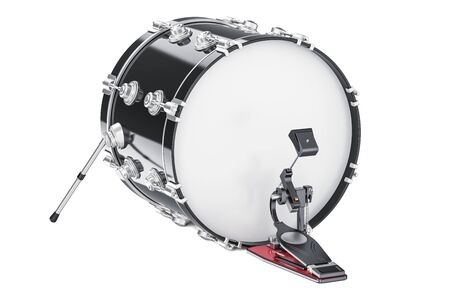 Bass Drum, 3D rendering isolated on white background Stock Photo