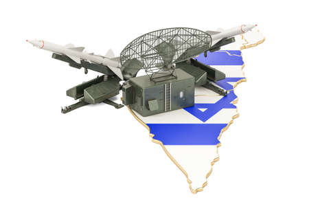 Israeli missile defence system concept, 3D rendering