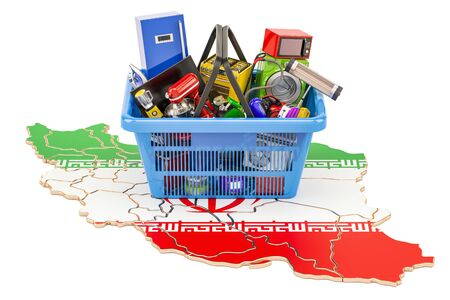 Map of Iran with shopping basket full of home and kitchen appliances, 3D rendering Stock Photo