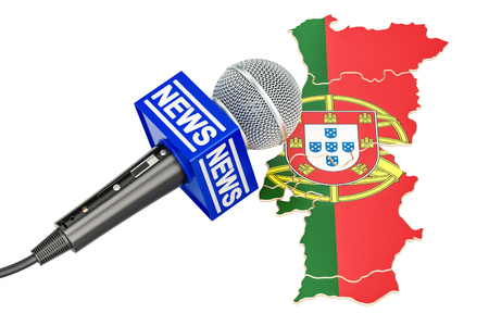 Portuguese News concept, microphone news on the map. 3D rendering Stock Photo