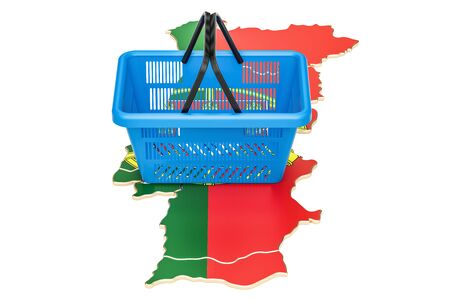 Shopping basket on Portugal map, market basket or purchasing power concept. 3D rendering