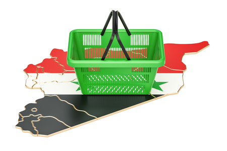 Shopping basket on Syrian map, market basket or purchasing power concept. 3D rendering Stock Photo