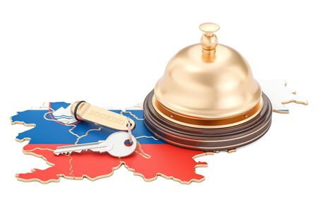 Slovenia booking concept. Slovenian flag with hotel key and reception bell, 3D rendering