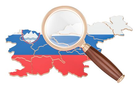 Slovenia under magnifying glass, analysis concept, 3D rendering isolated on white background
