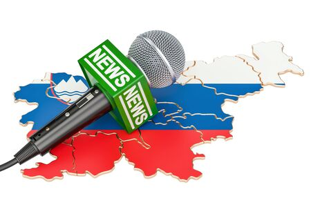 Slovenian News concept, microphone news on the map. 3D rendering Stock Photo