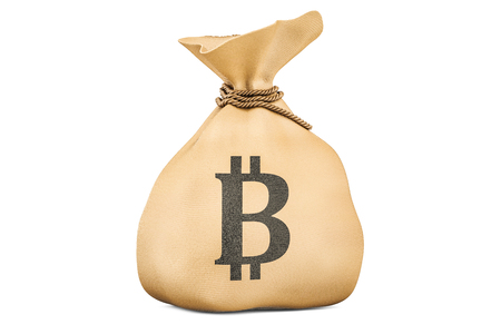 Money bag with bitcoin, 3D rendering isolated on white background