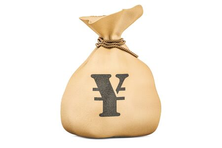 Money bag with yen or yuan, 3D rendering isolated on white background