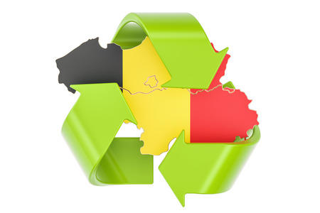 Recycling in Belgium concept, 3D rendering isolated on white background Stock Photo