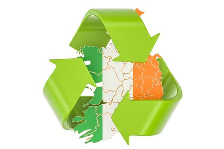 Reciclando en el concepto de Irlanda, representación 3D aislada en el fondo blanco