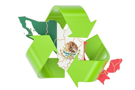 Recycling in Mexico concept, 3D rendering isolated on white background