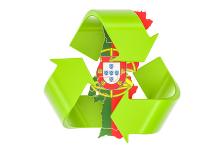 Recycling in Portugal concept, 3D rendering isolated on white background Reklamní fotografie