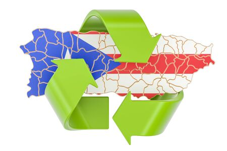 Recycling in Puerto Rico concept, 3D rendering isolated on white background