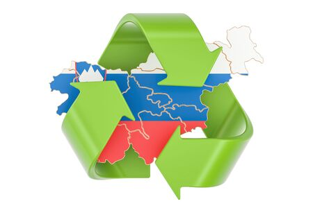 Recycling in Slovenia concept, 3D rendering isolated on white background Stock Photo
