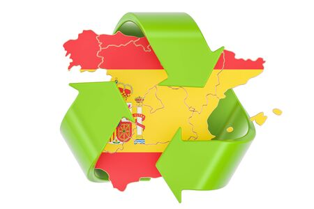 Recycling in Spain concept, 3D rendering isolated on white background Stock Photo