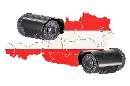 Surveillance and security system concept in Austria. 3D rendering isolated on white background Stock Photo