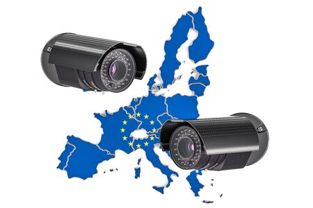 Surveillance and security system concept in European Union. 3D rendering isolated on white background