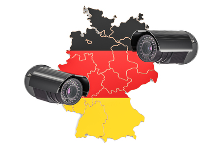 violación: Surveillance and security system concept in Germany. 3D rendering isolated on white background
