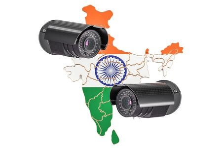 Surveillance and security system concept in India. 3D rendering isolated on white background