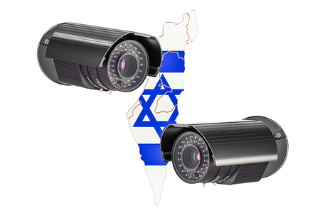 Surveillance and security system concept in Israel. 3D rendering isolated on white background