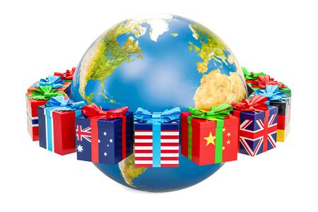Globaal Kerstmis en Nieuwjaarconcept, Aardebol met rond giftdozen. 3D-rendering op een witte achtergrond