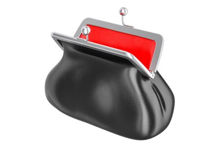Opened empty purse, 3D rendering isolated on white background