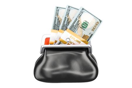 内部のドルパックと財布、白の背景に分離された3D レンダリング