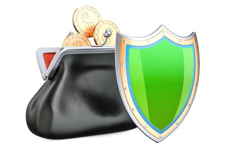 Purse with golden coins and shield, financial insurance and business stability concept. 3D rendering