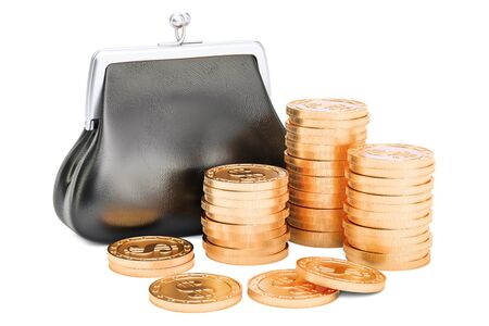 Purse with golden coins around, 3D rendering isolated on white background Stock Photo